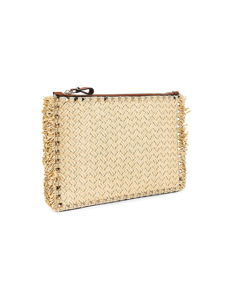 Image 4 of Valentino Large Rockstud Flat Pouch in Natural & Selleria
