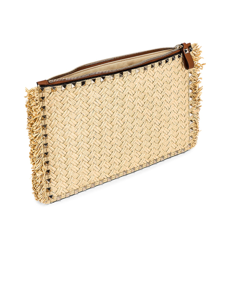 Image 5 of Valentino Large Rockstud Flat Pouch in Natural & Selleria