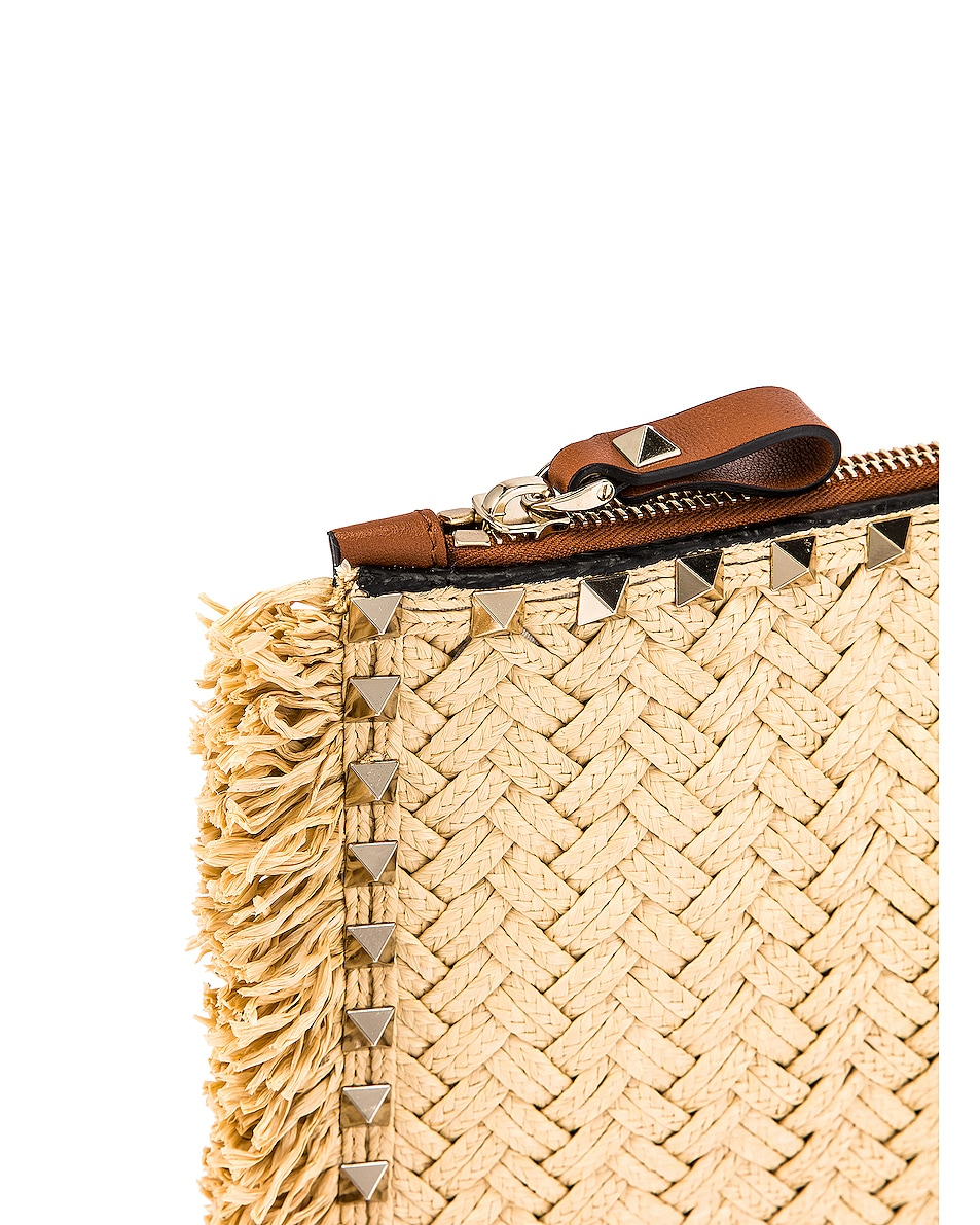 Image 7 of Valentino Large Rockstud Flat Pouch in Natural & Selleria