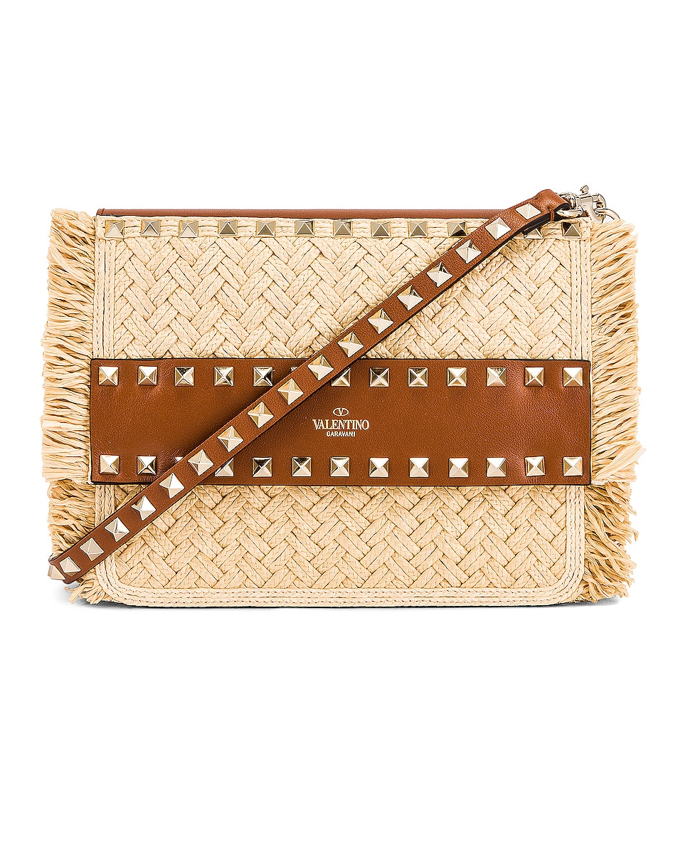 Image 1 of Valentino Small Rockstud Shoulder Bag in Natural & Selleria