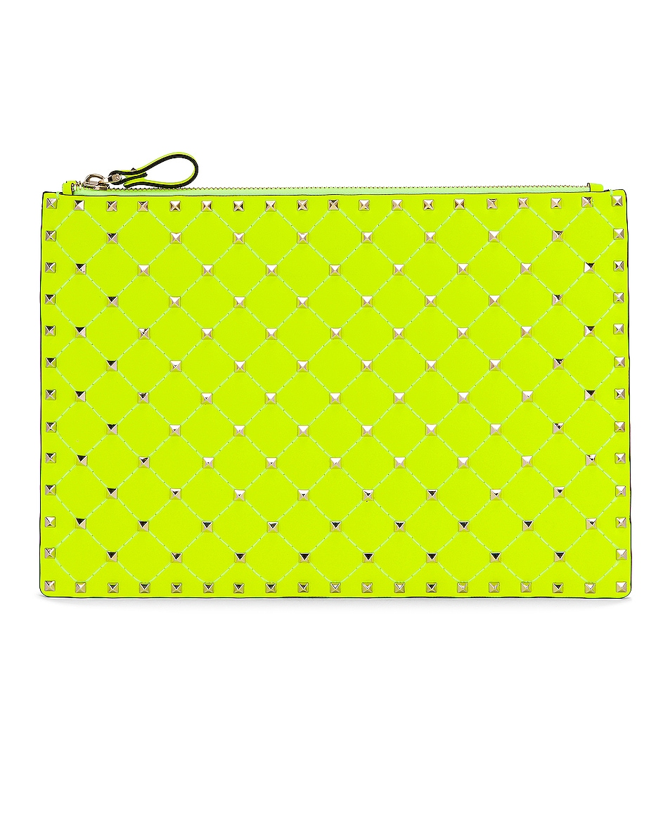 Image 1 of Valentino Large Rockstud Spike Flat Pouch in Lime
