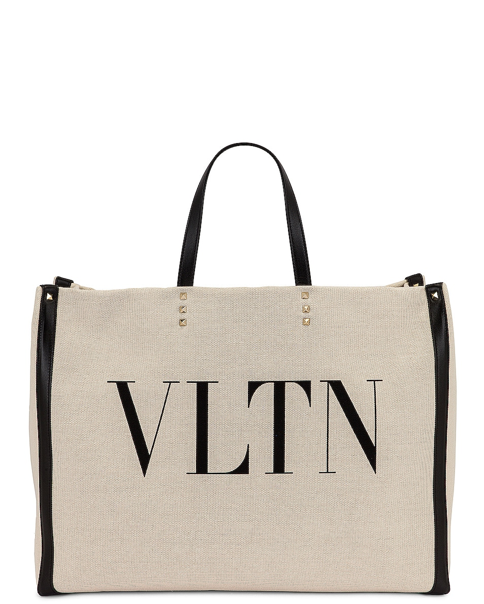 Image 1 of Valentino Large Logo Tote in Naturale & Nero