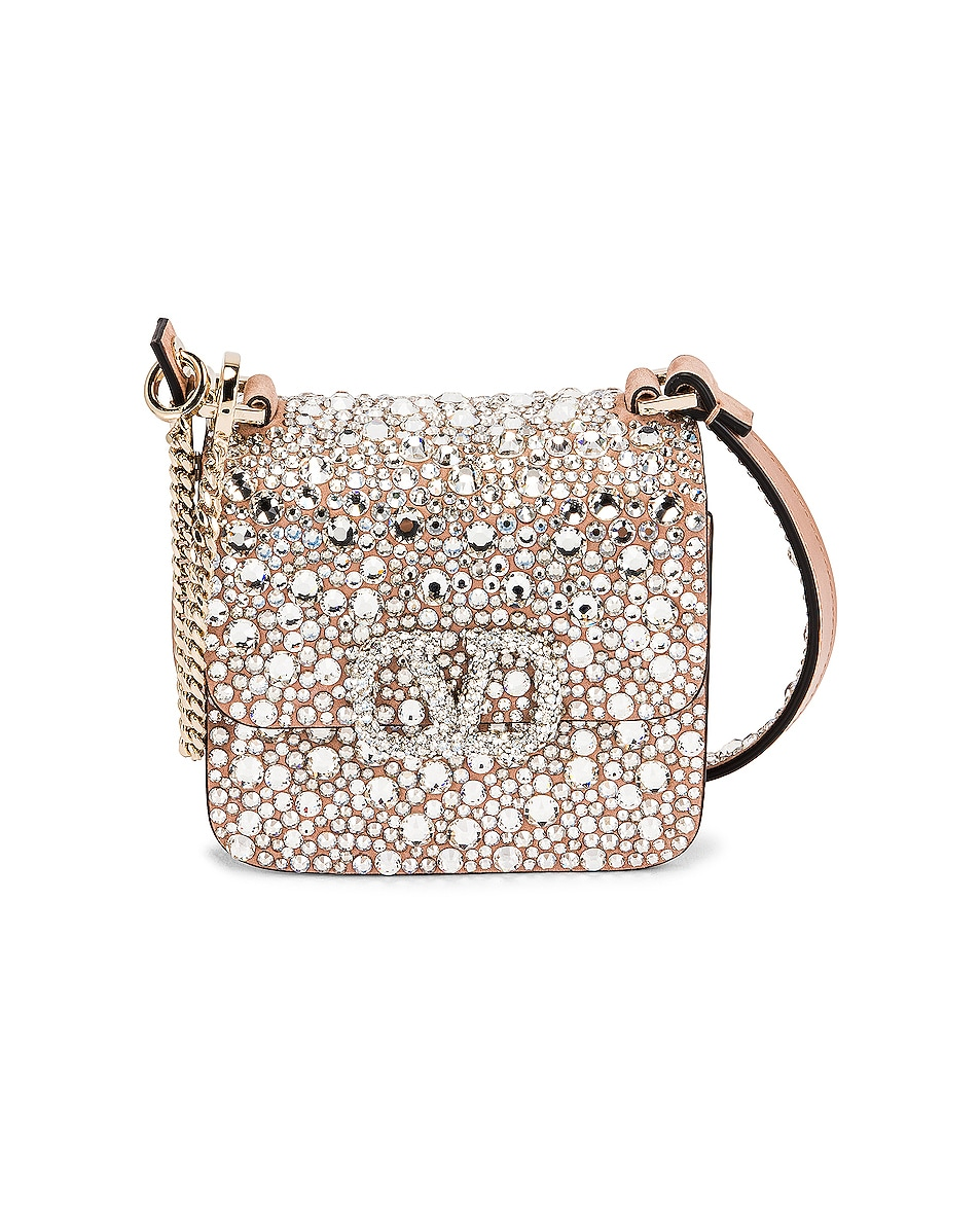 Image 1 of Valentino Micro VSling Shoulder Bag in Rose Cannelle & Crystal