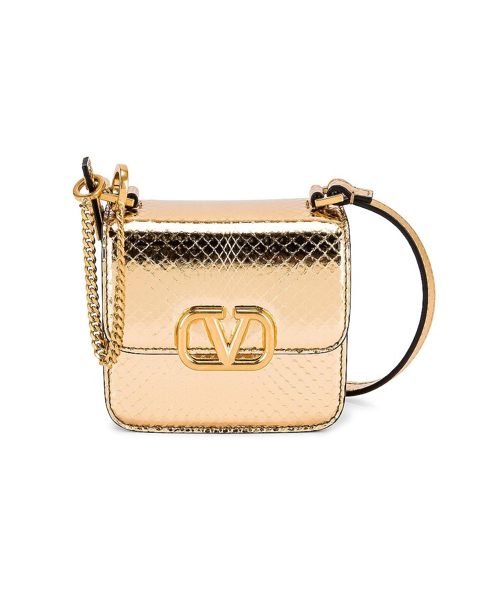 Image 1 of Valentino Garavani Micro VSling Shoulder Bag in Antique Brass