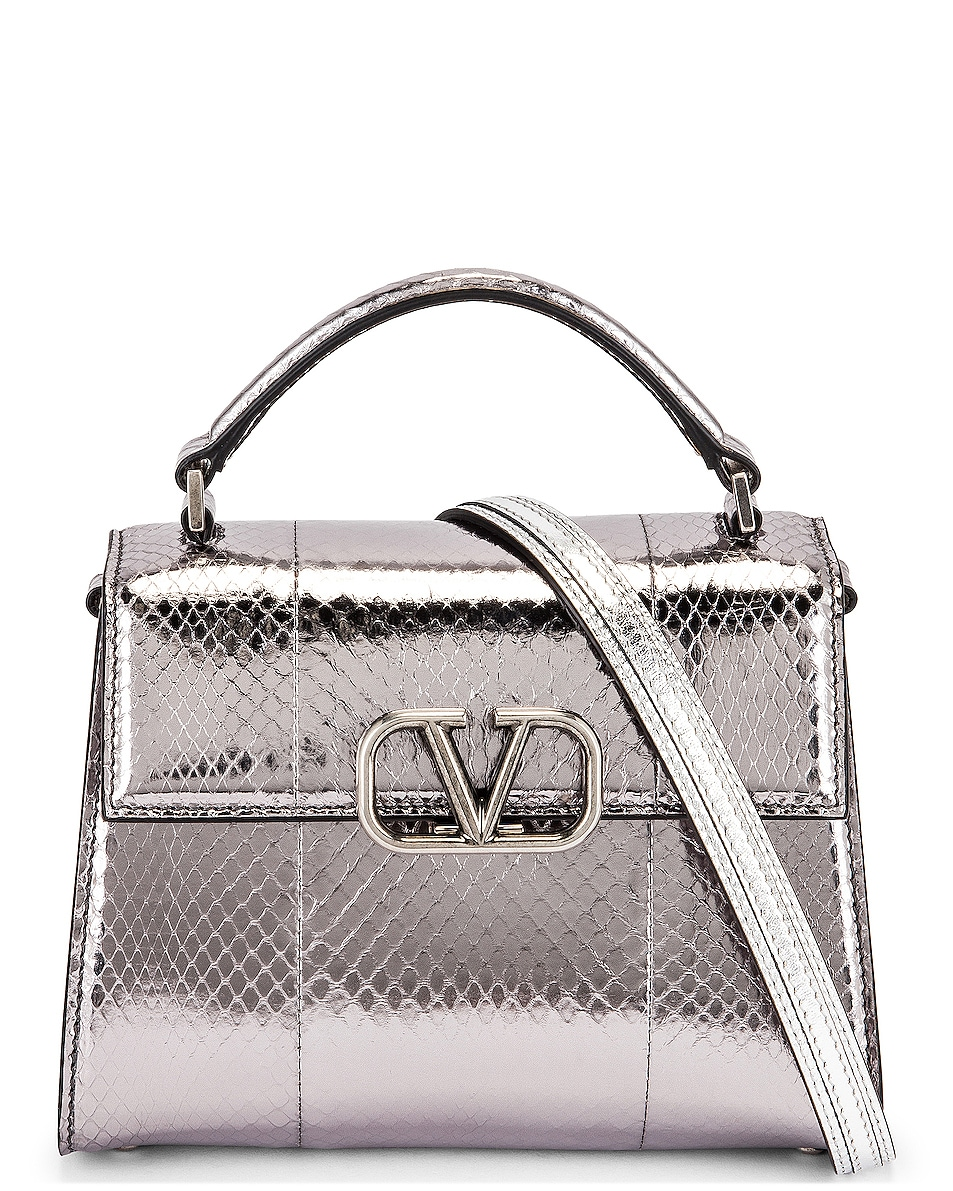 Image 1 of Valentino Garavani Mini Top Handle Bag in Antique Silver