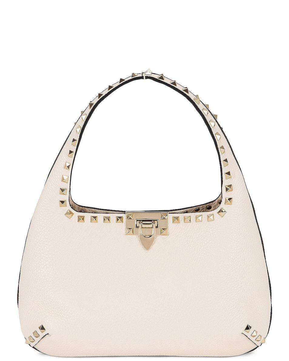 Image 1 of Valentino Garavani Small Leather Hobo Bag in Light Ivory