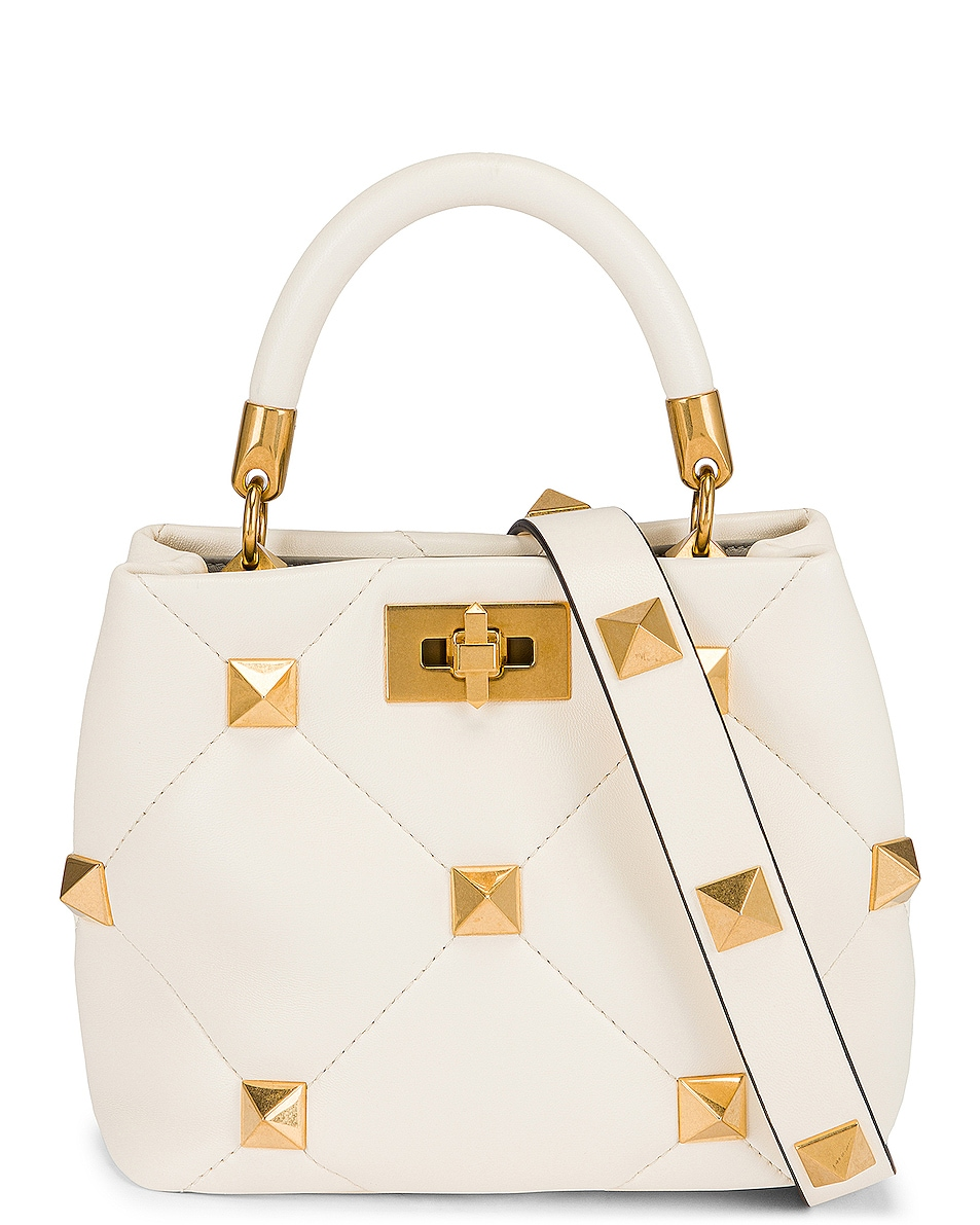 Image 1 of Valentino Garavani Small Roman Stud Top Handle Bag in Ivory