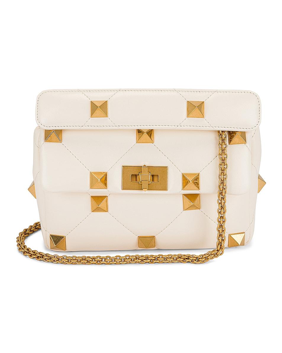 Image 1 of Valentino Garavani Medium Roman Stud Shoulder Bag in Ivory