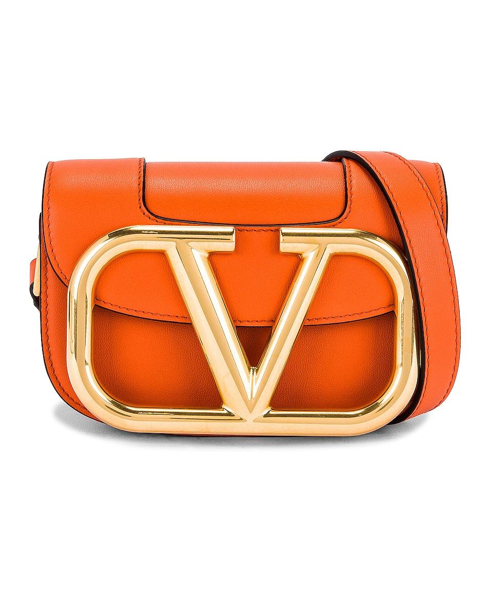 Image 1 of Valentino Garavani Small Supervee Shoulder Bag in Orange Zest