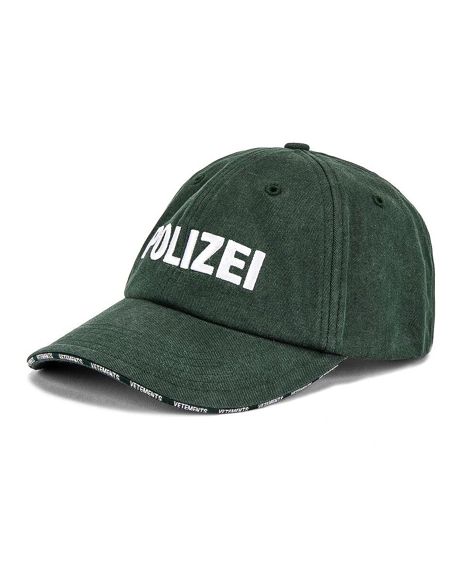 Image 2 of VETEMENTS Polizei Cap in Green