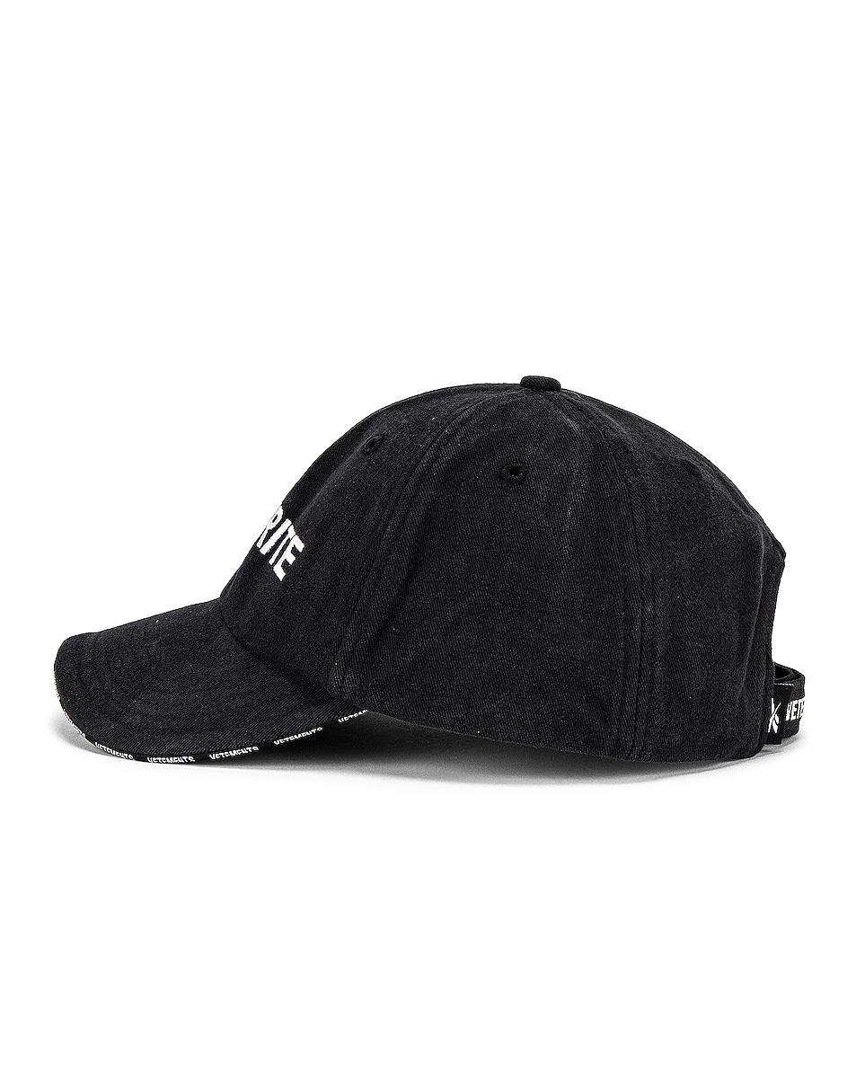 Image 3 of VETEMENTS Securite Cap in Black