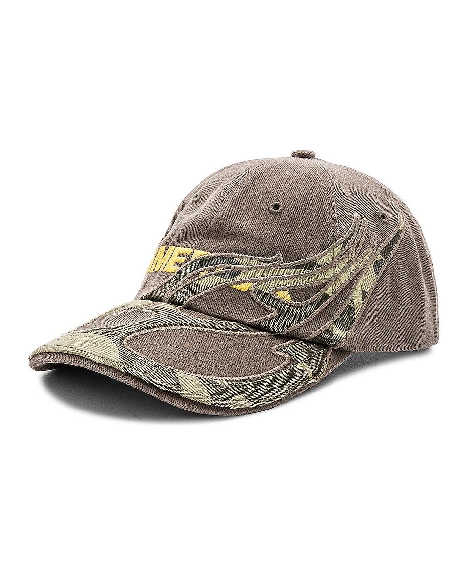 Image 2 of VETEMENTS Cut Up Cap in Khaki Amerika