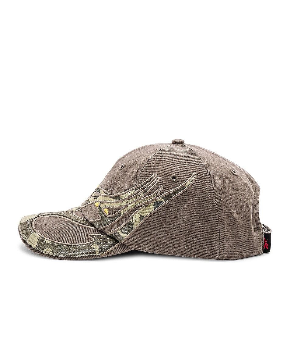 Image 3 of VETEMENTS Cut Up Cap in Khaki Amerika