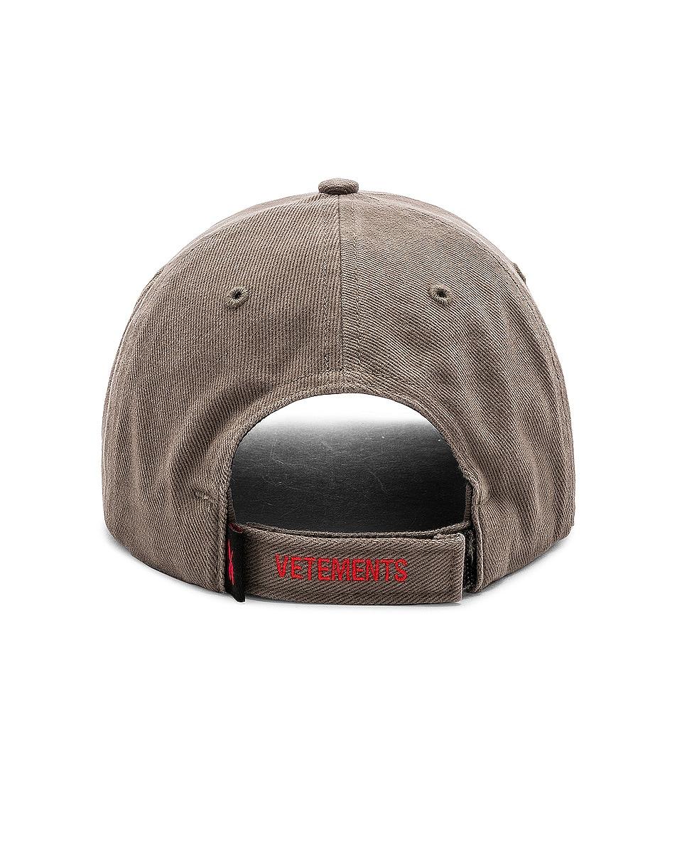 Image 4 of VETEMENTS Cut Up Cap in Khaki Amerika
