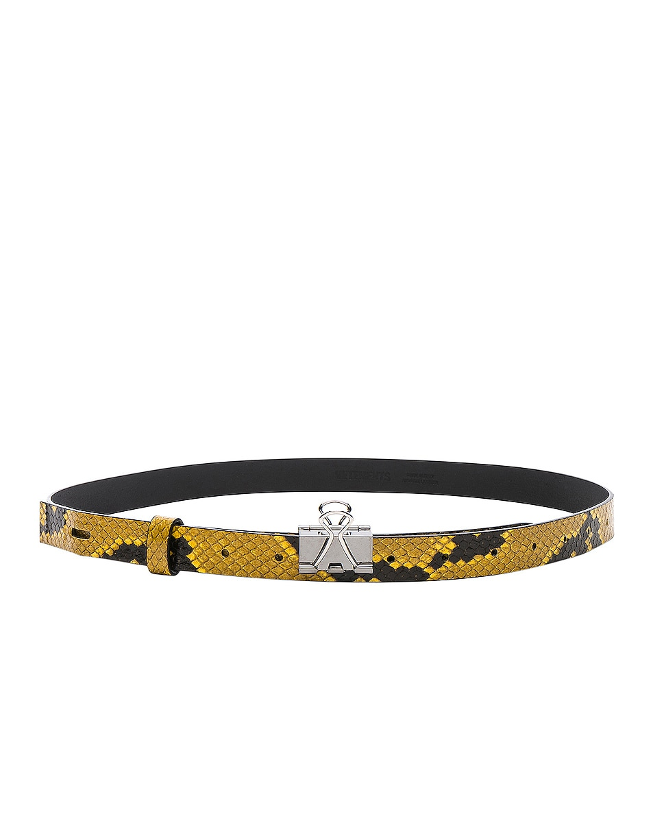 Image 2 of VETEMENTS Thin Python Paper Clip Belt in Yellow