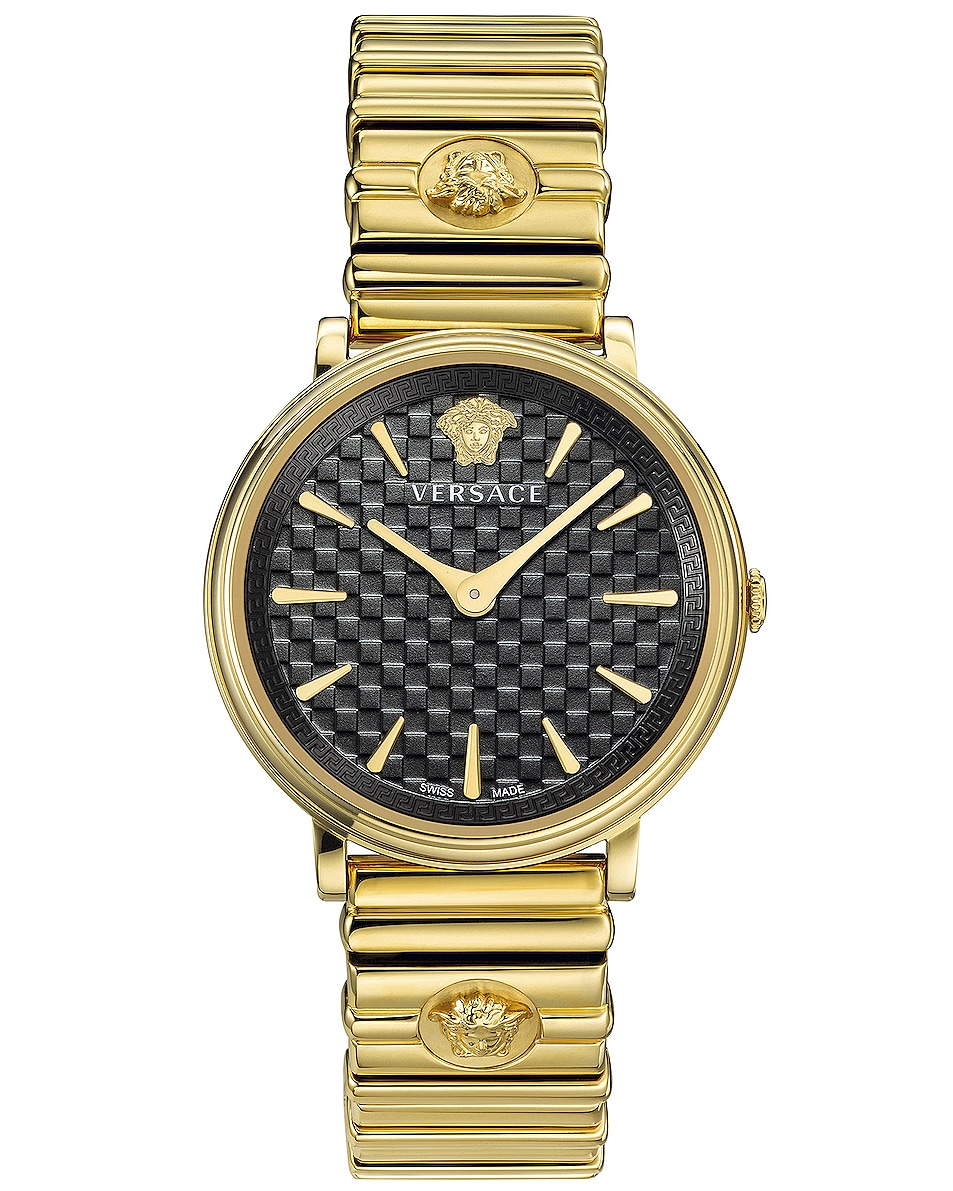 Image 1 of VERSACE V-Circle Logomania 38mm Watch in IP Yellow Gold & Black Dial