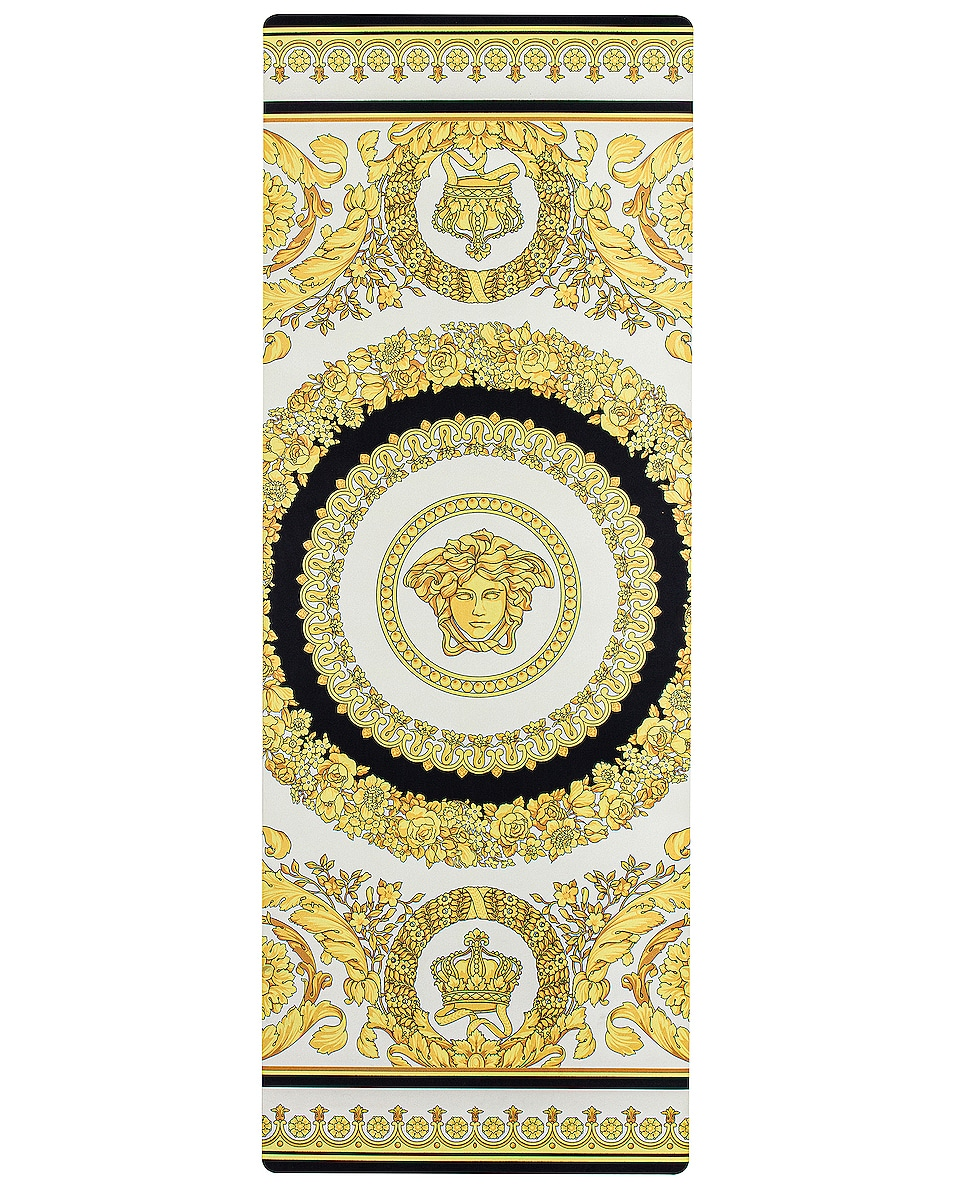 Image 1 of VERSACE Play On Yoga Mat in Black, White & Gold