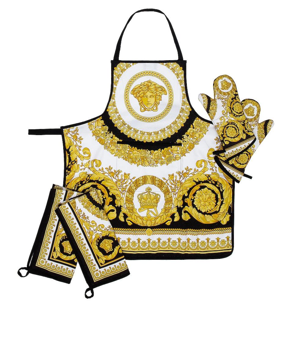 Image 1 of VERSACE Crete Des Fleur Kitchen Kit in Black, White & Gold