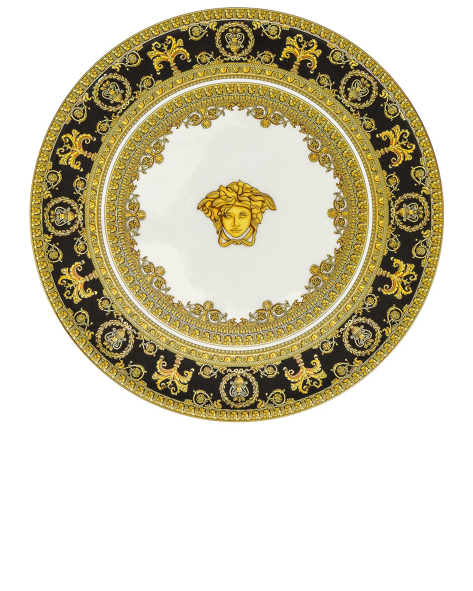 Image 1 of VERSACE I Love Baroque Footed Platter 8 1/4 Inch in Gold & White