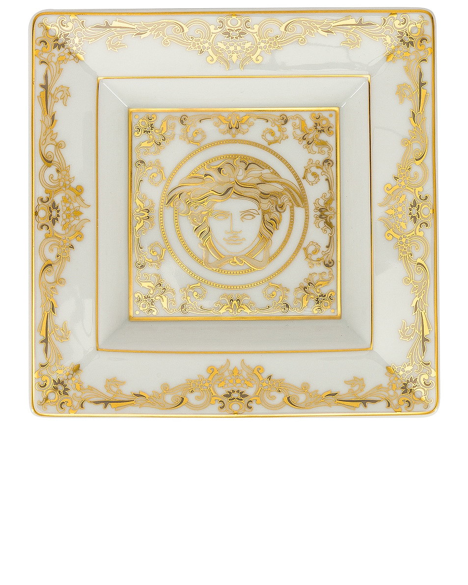 Image 1 of VERSACE Medusa Gala Tray 5 1/2 Inch in White & Gold