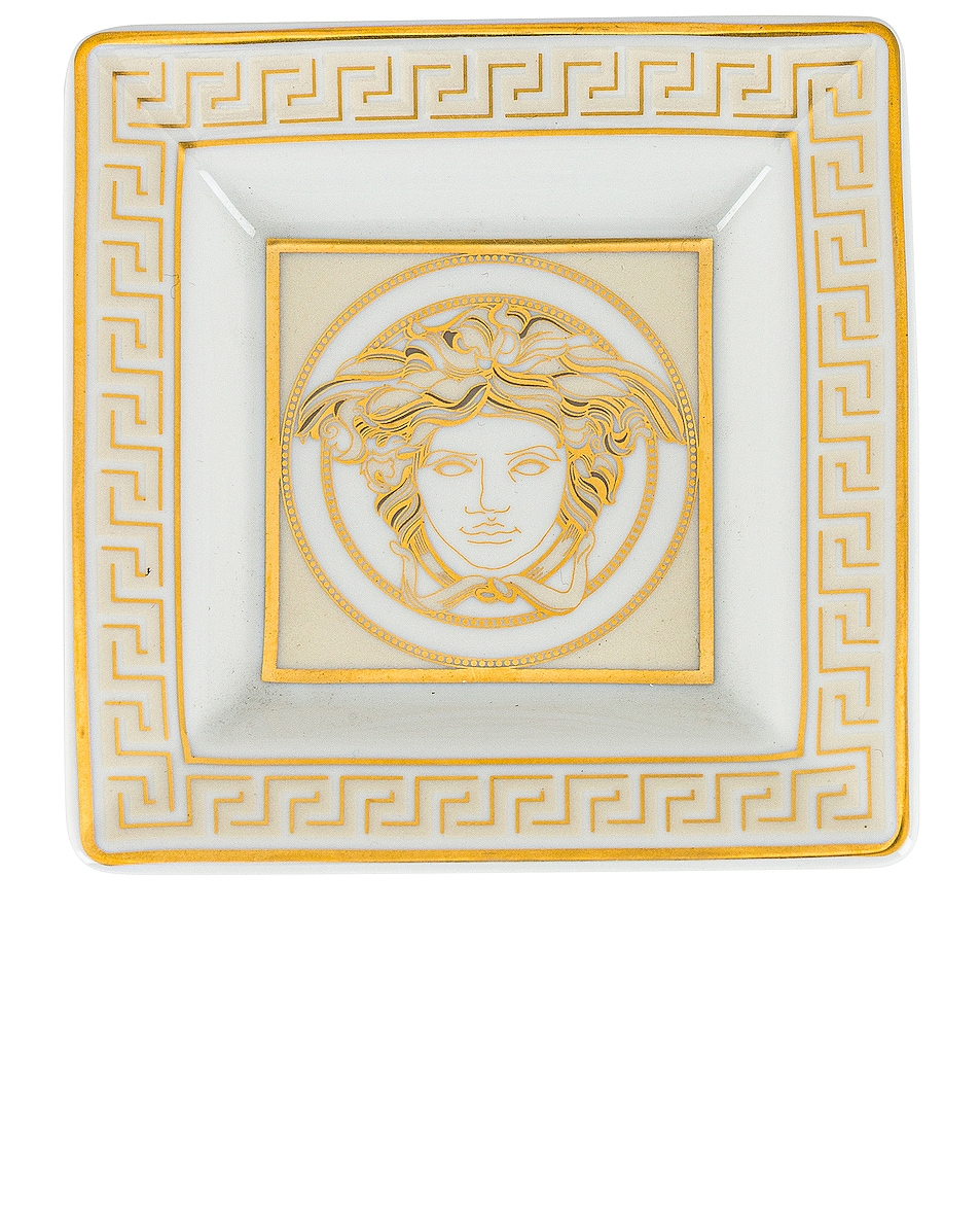 Image 1 of VERSACE Medusa Gala Tray 3 1/2 Inch in White & Gold