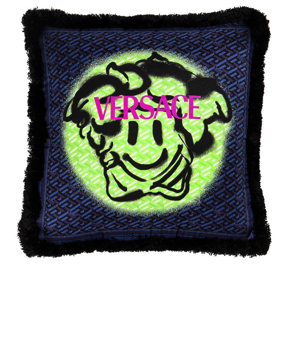 Image 1 of VERSACE Monogram Smiley Pillow in Blue & Khaki