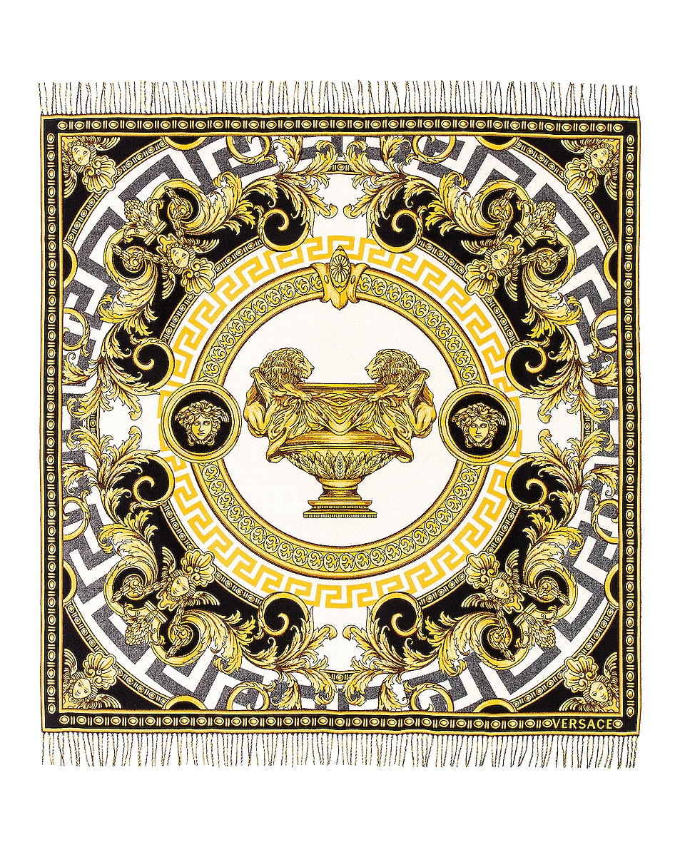 Image 1 of VERSACE The Cup of the Gods Throw in Black & White & Yellow