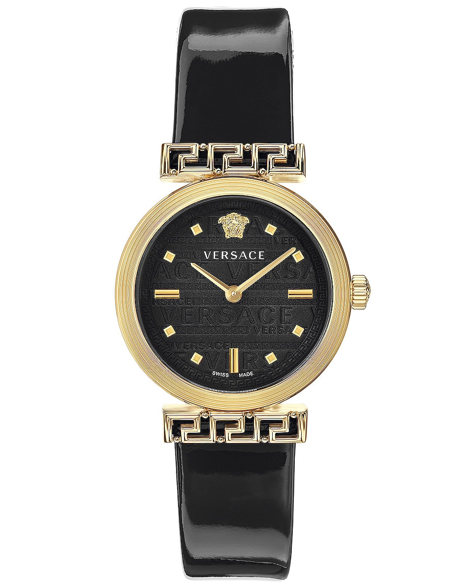 Image 1 of VERSACE Meander 34mm Watch in Yellow Gold & Black