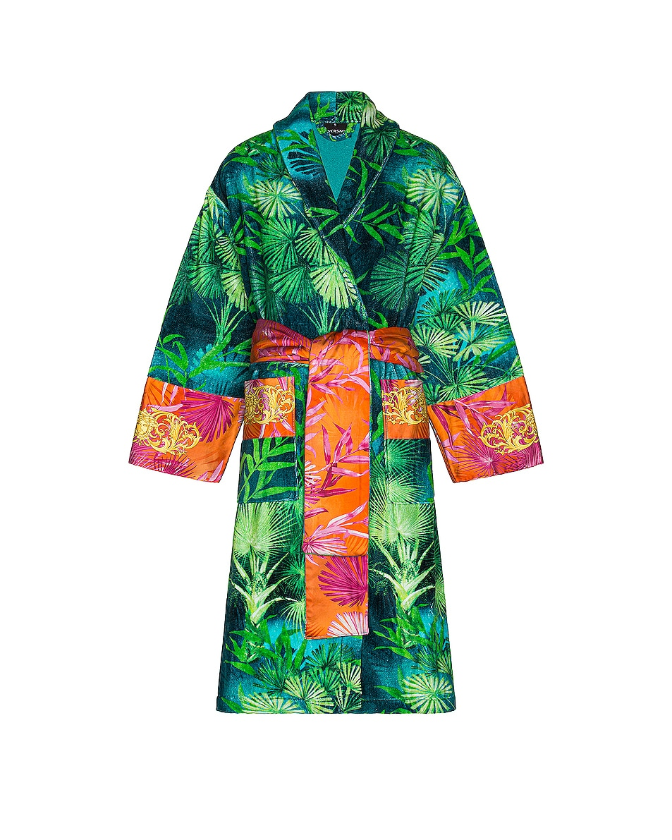 Image 1 of VERSACE Jungle Bath Robe in Green Print