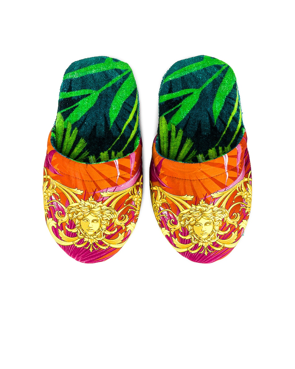 Image 1 of VERSACE Jungle Slippers in Green Print