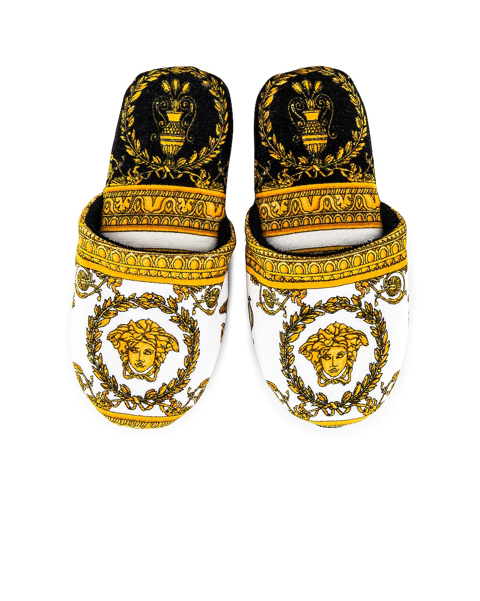 Image 1 of VERSACE I Heart Baroque Slippers in White & Gold & Black