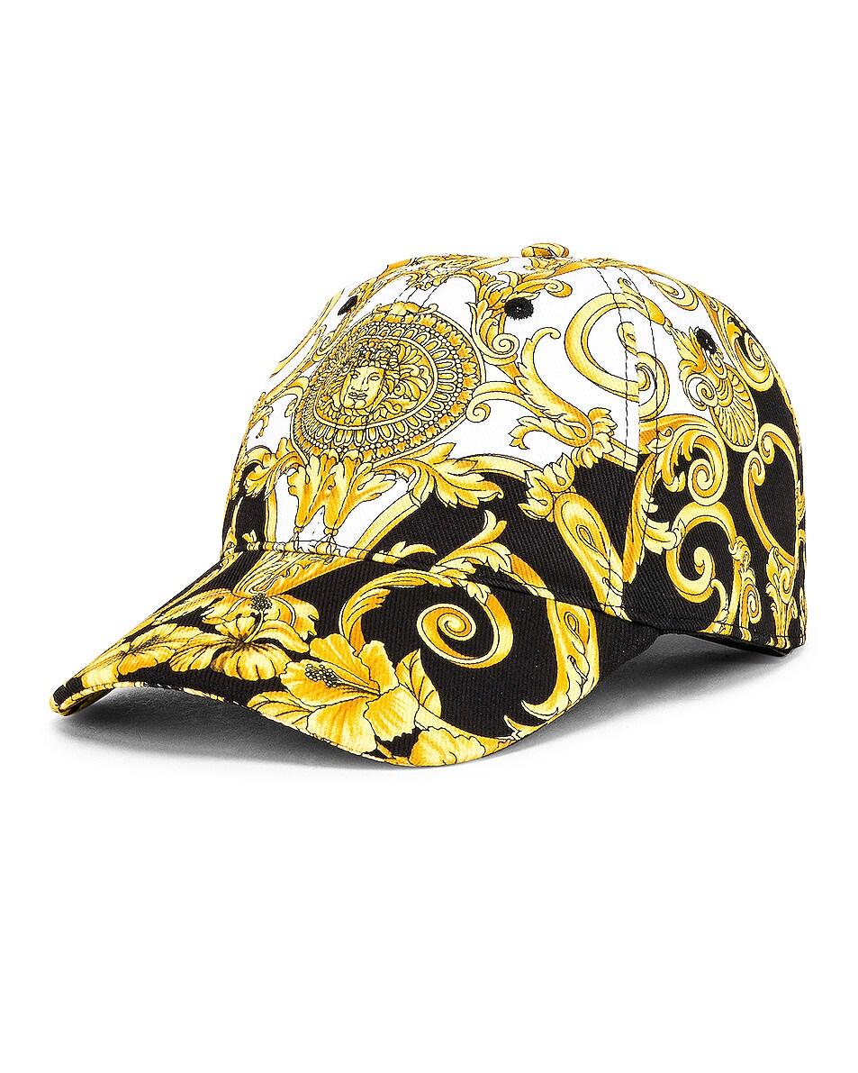 Image 2 of VERSACE Print Baseball Hat in Black & Yellow & White