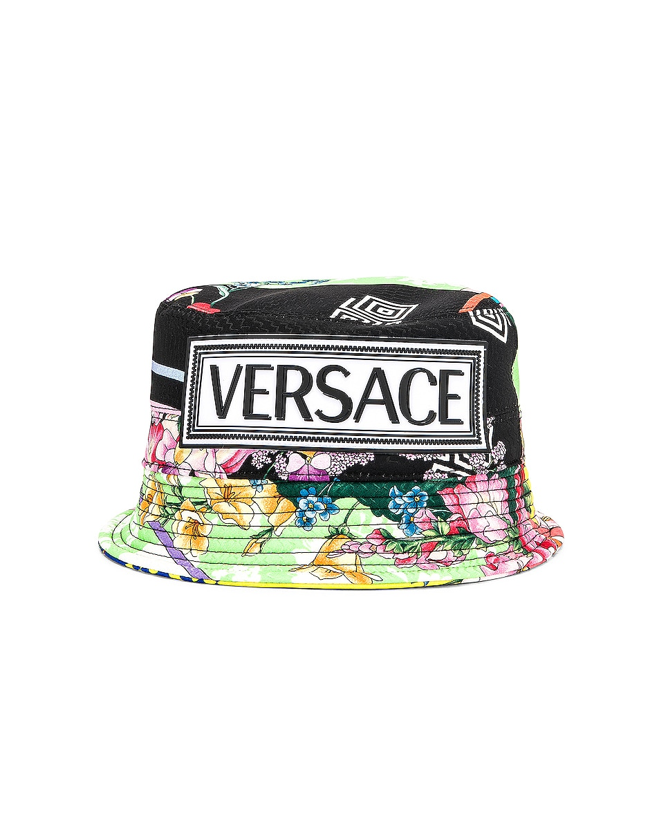 Image 1 of VERSACE Logo Print Bucket Hat in Multi