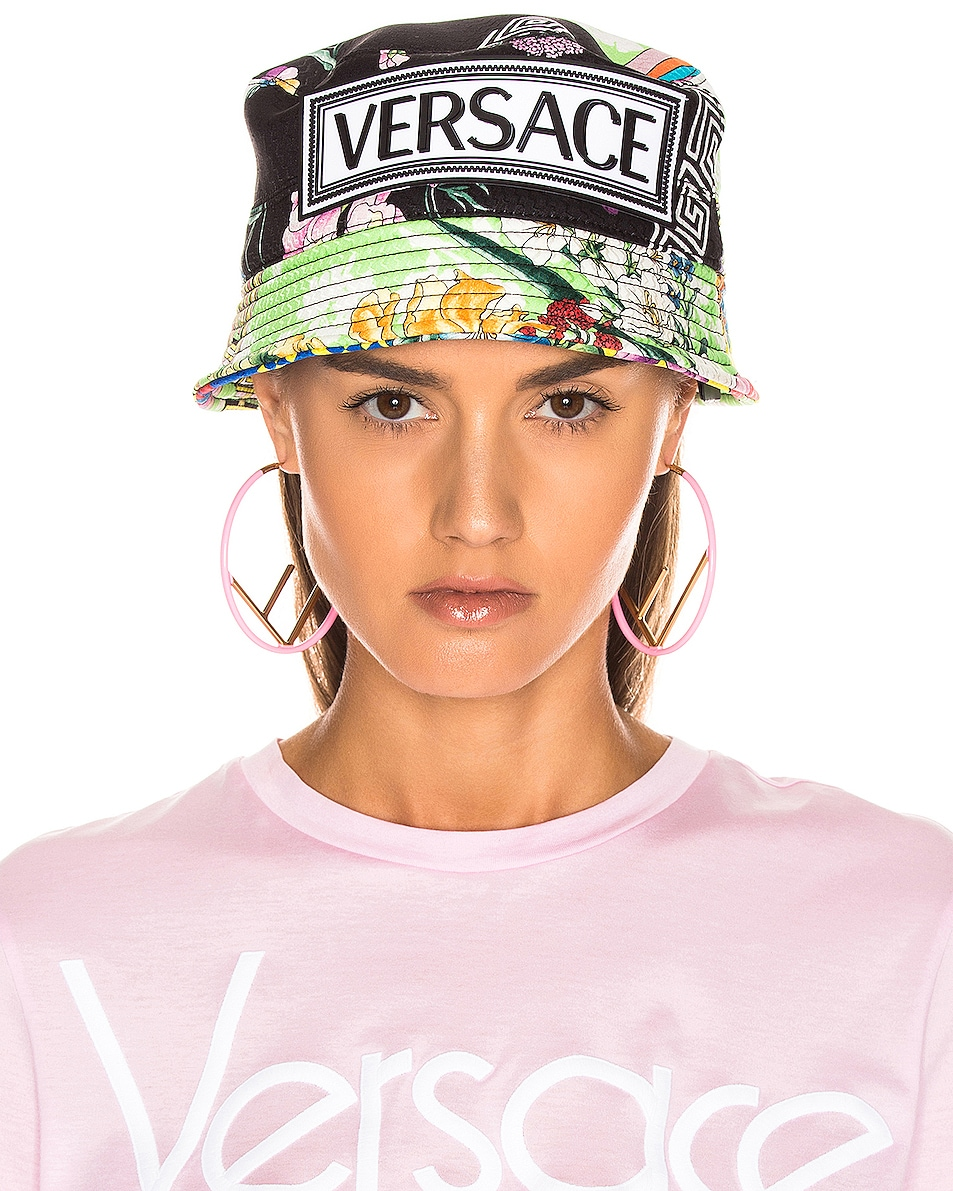 Image 2 of VERSACE Logo Print Bucket Hat in Multi