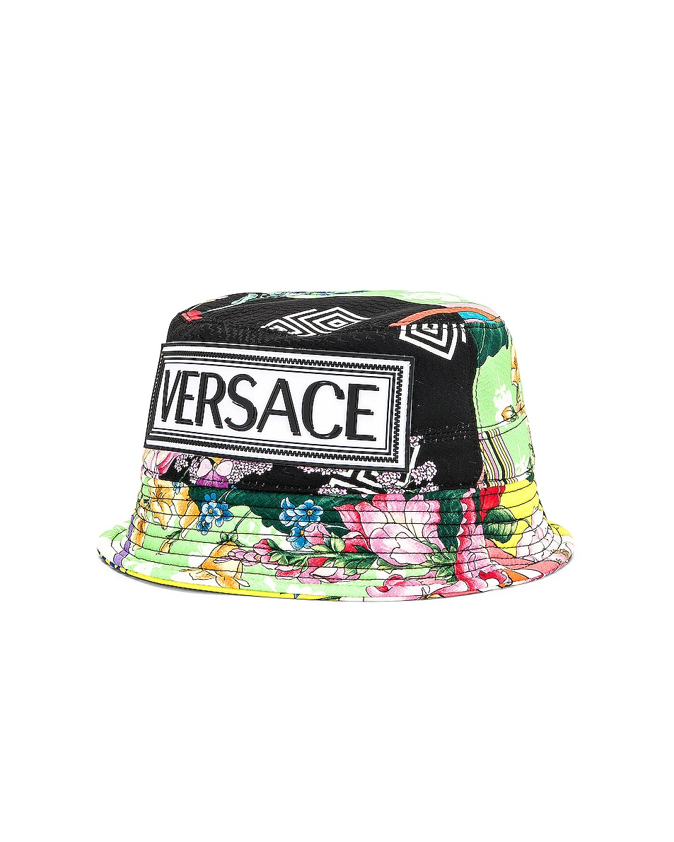 Image 3 of VERSACE Logo Print Bucket Hat in Multi