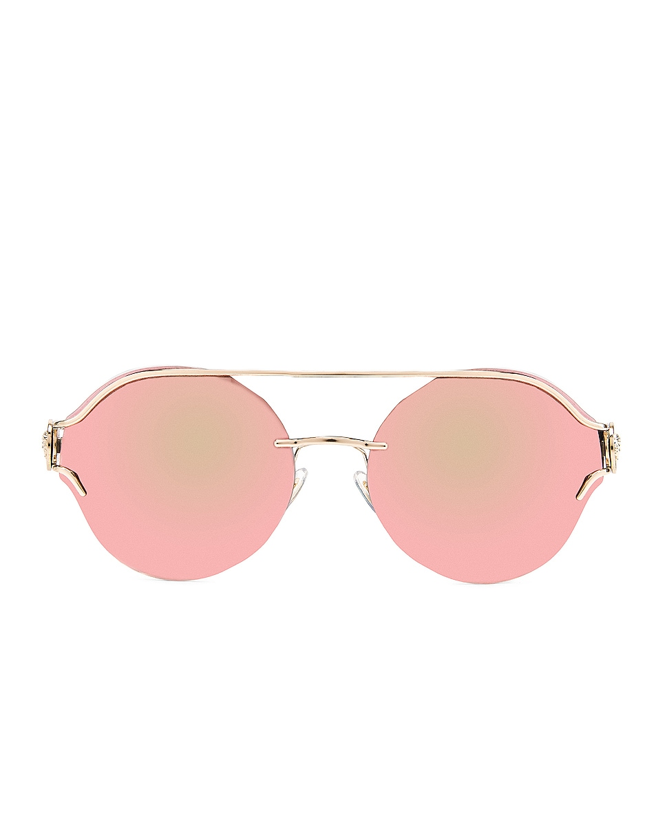 Image 1 of VERSACE Round Sunglasses in Black & Gold