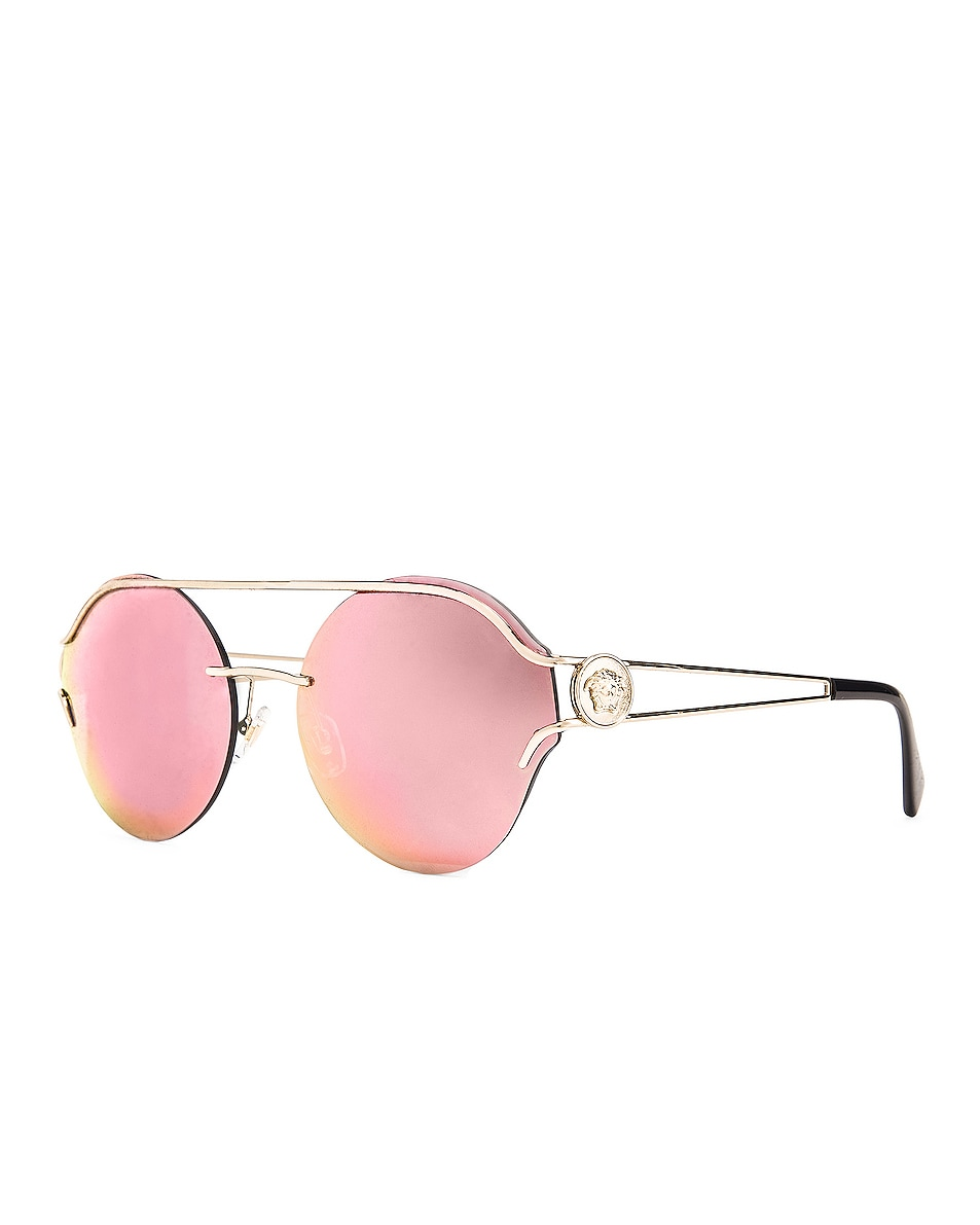 Image 2 of VERSACE Round Sunglasses in Black & Gold