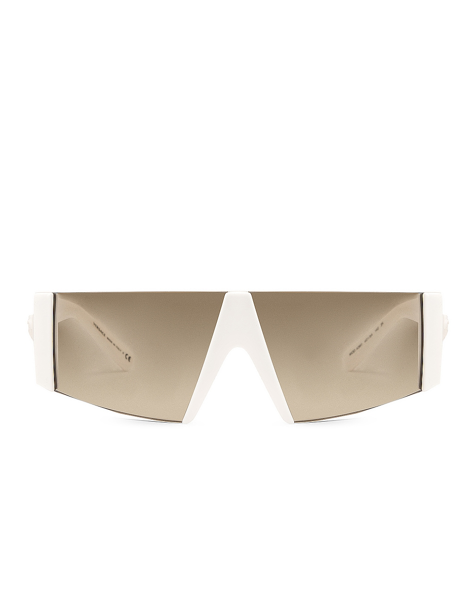 Image 1 of VERSACE Rectangle Shield Sunglasses in White