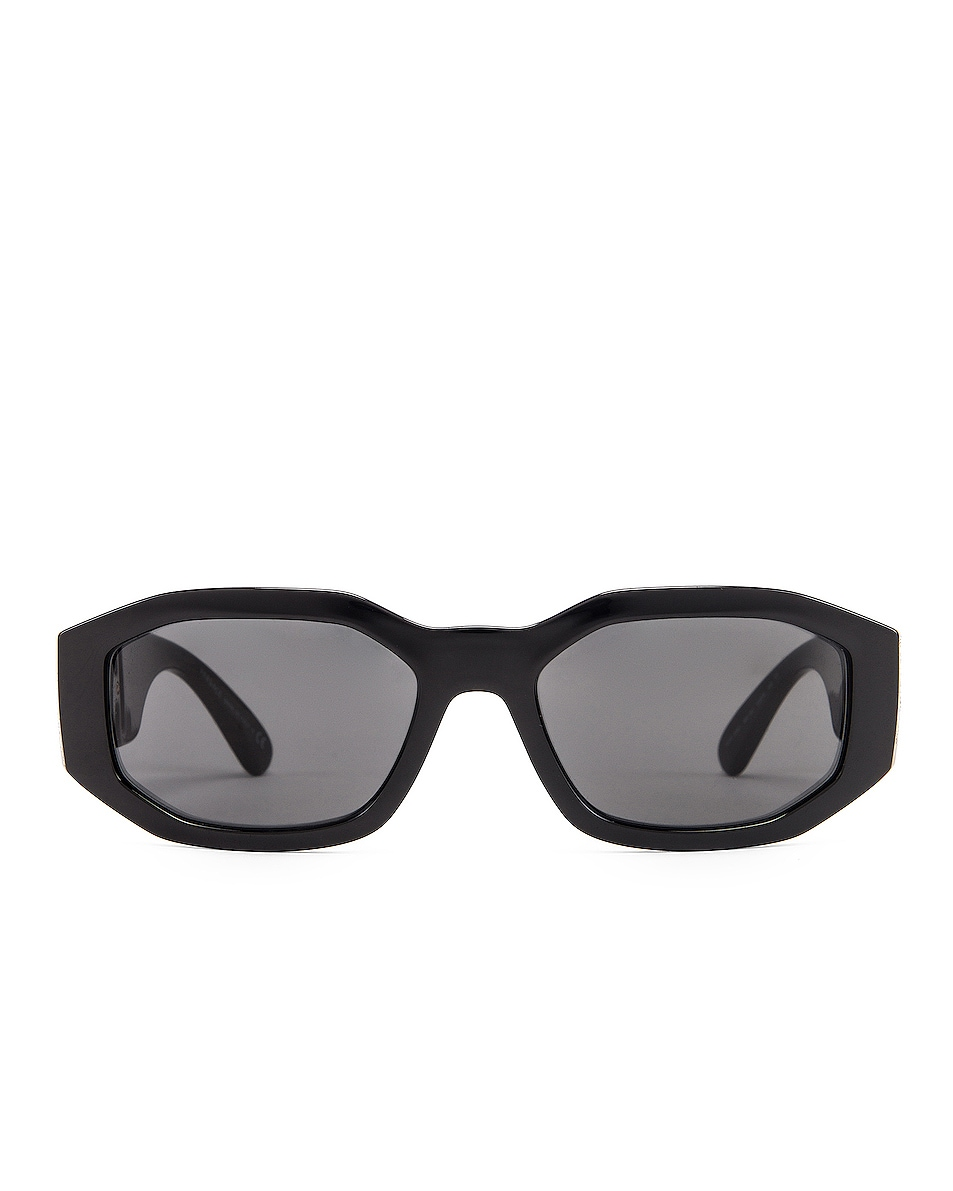 Image 1 of VERSACE Chunky Rectangle Sunglasses in Black