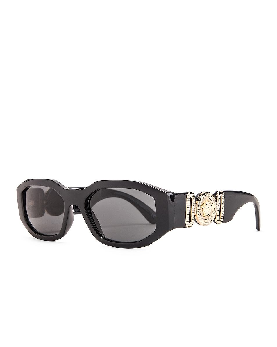 Image 2 of VERSACE Chunky Rectangle Sunglasses in Black