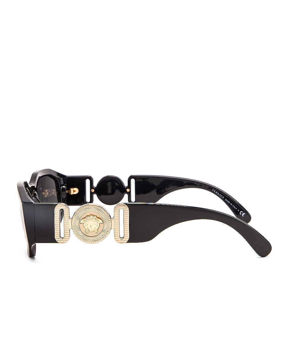 Image 3 of VERSACE Chunky Rectangle Sunglasses in Black