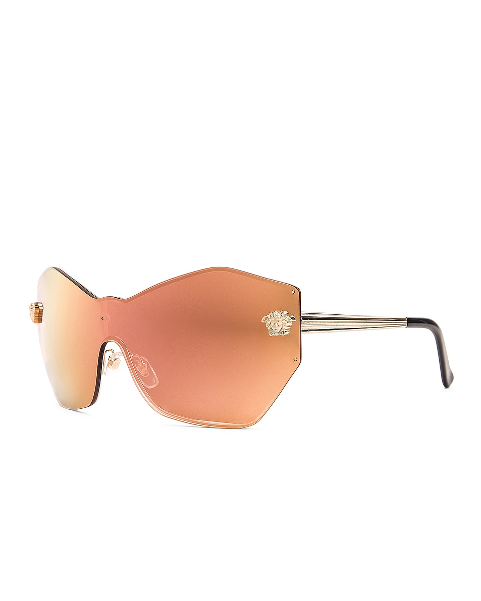 Image 2 of VERSACE Mirrored Shield Sunglasses in Pink