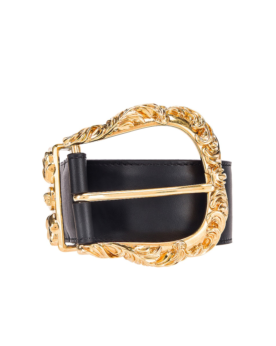 Image 1 of VERSACE Leather Buckle Belt in Black & Gold