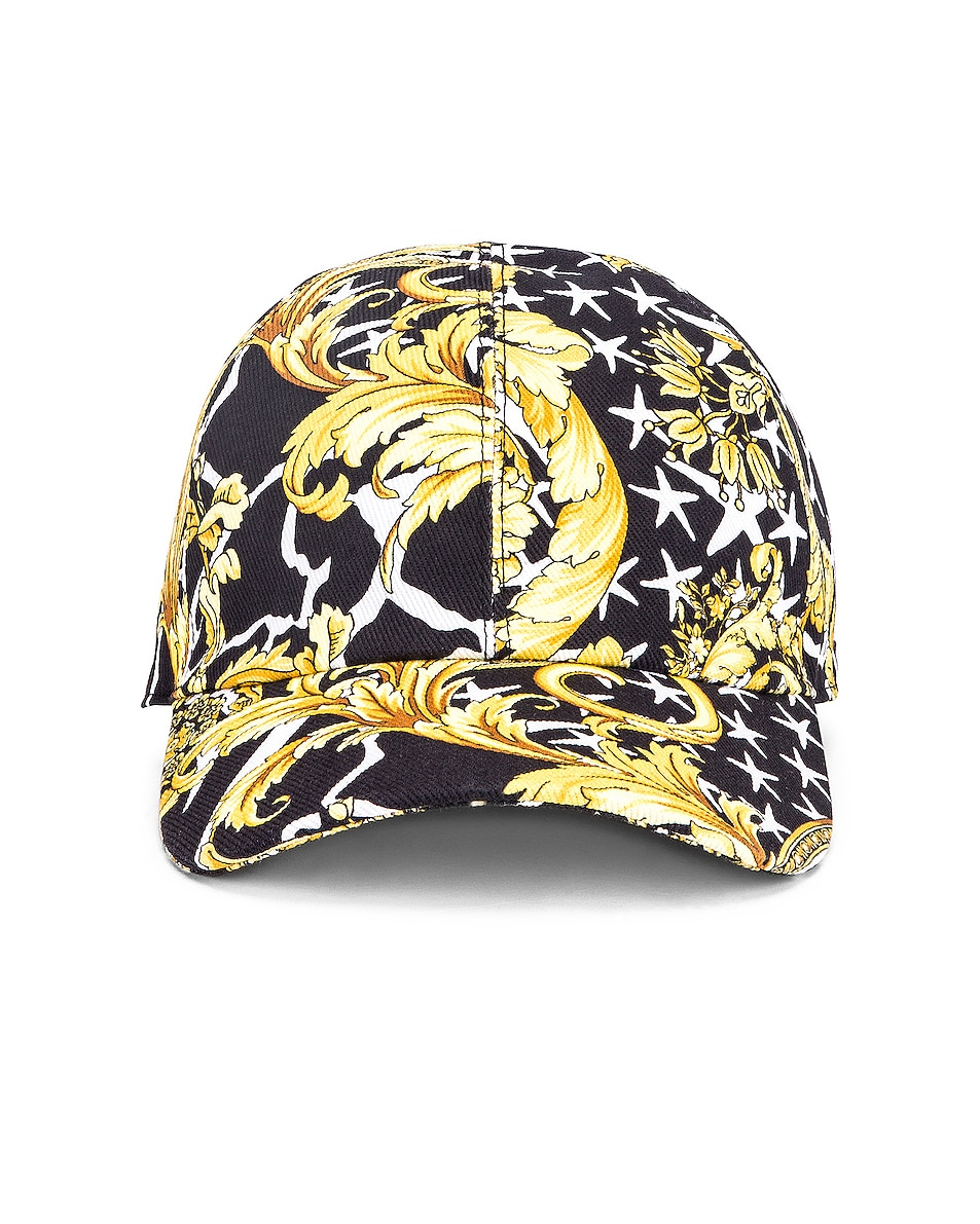 Image 1 of VERSACE Print Baseball Hat in Black & Gold