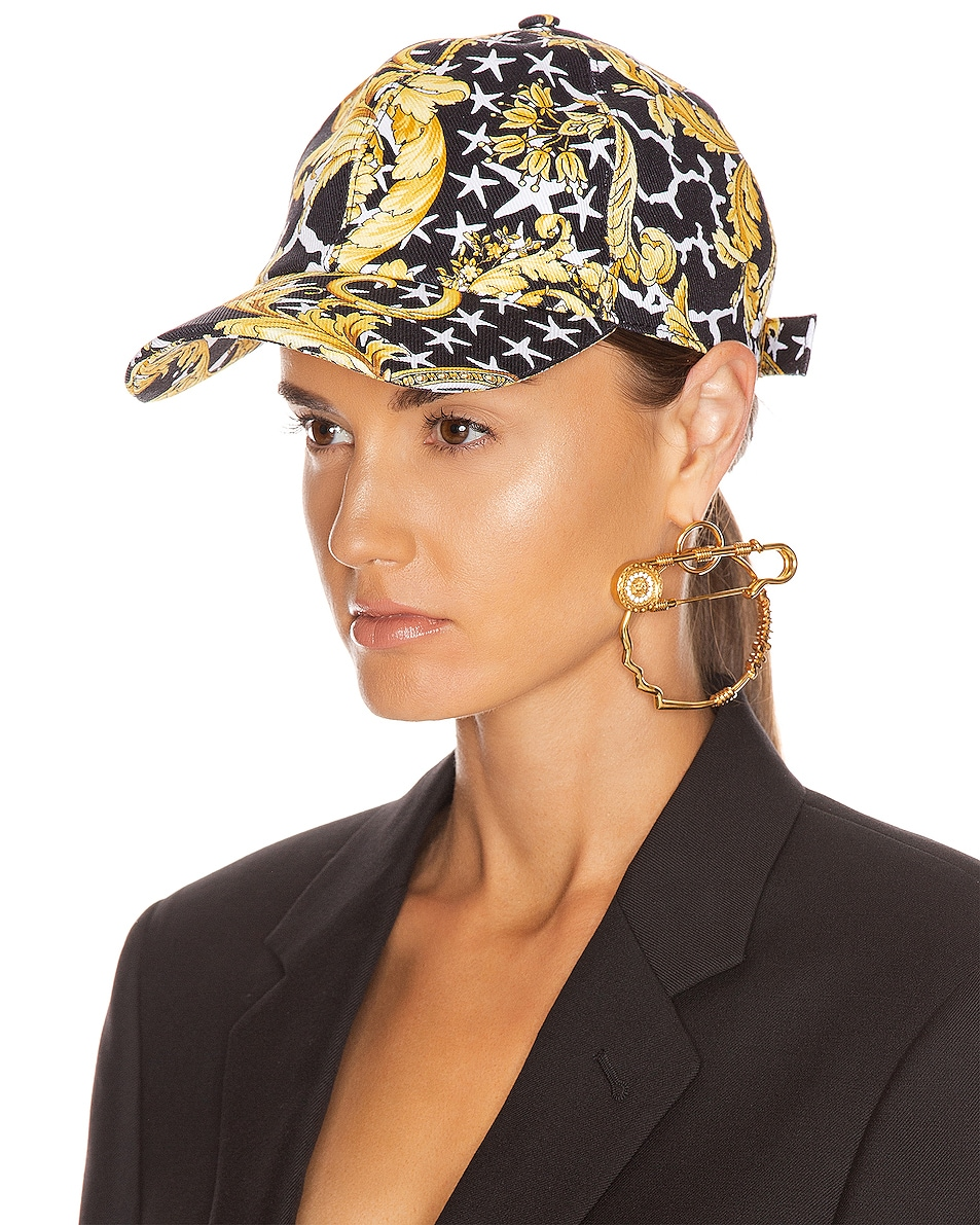 Image 2 of VERSACE Print Baseball Hat in Black & Gold