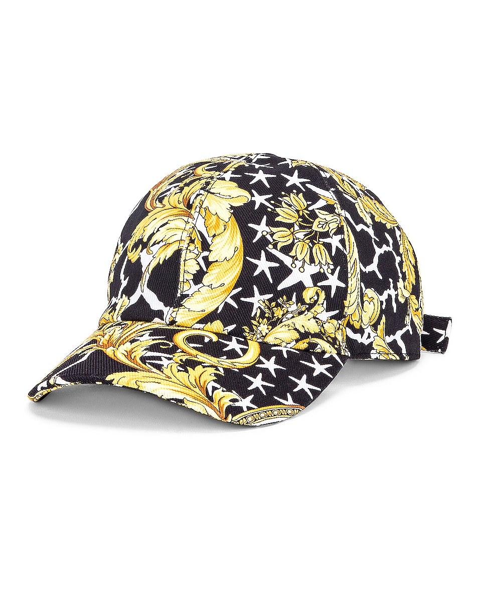 Image 3 of VERSACE Print Baseball Hat in Black & Gold