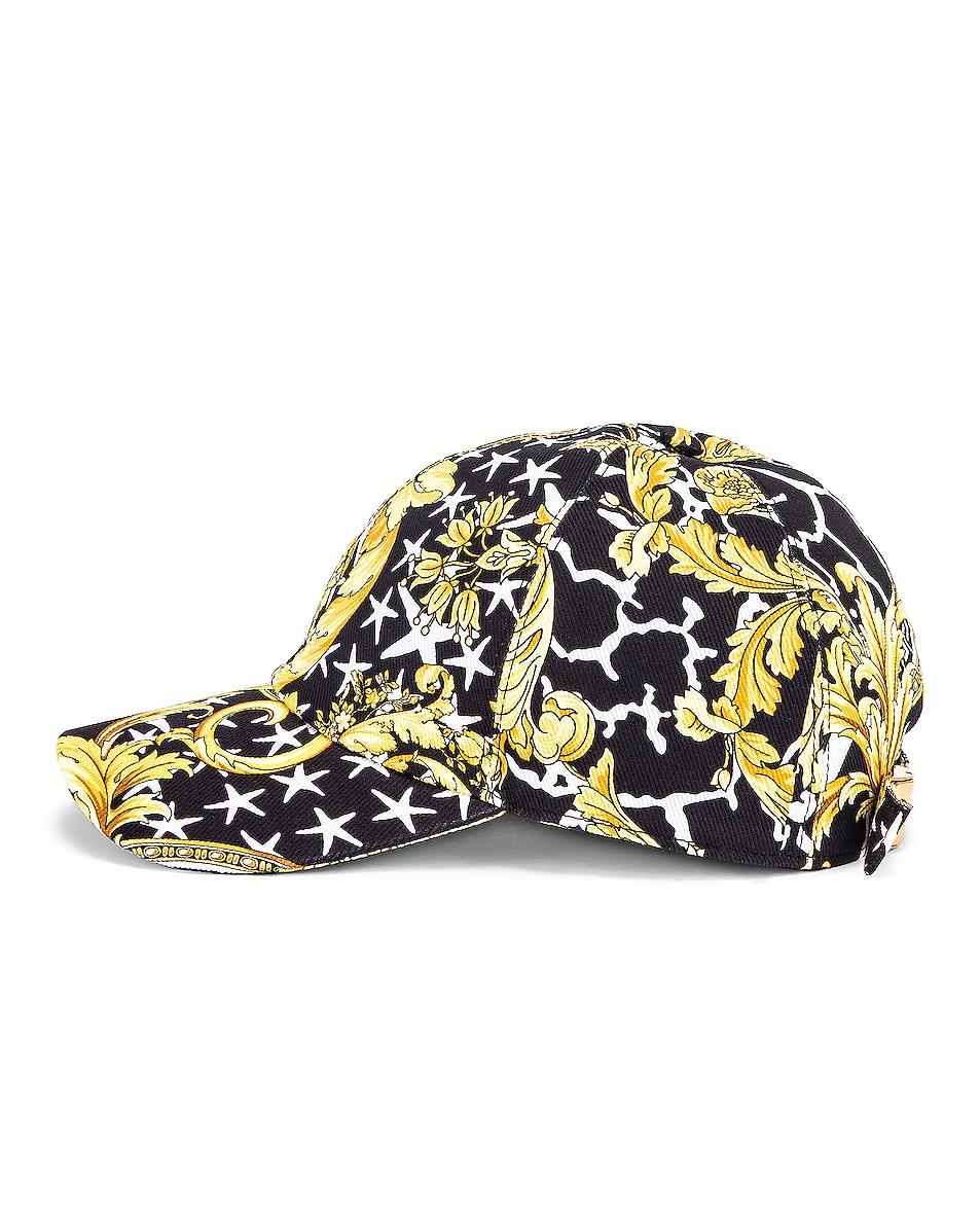 Image 4 of VERSACE Print Baseball Hat in Black & Gold