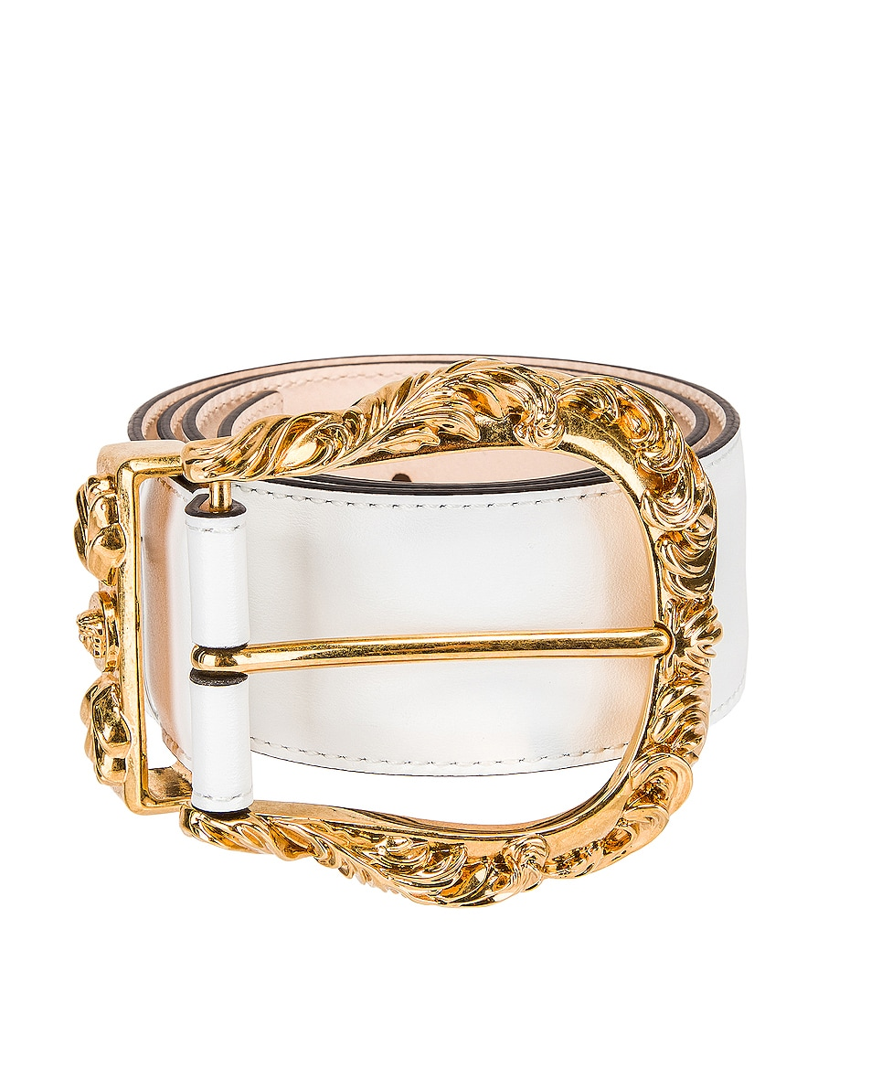 Image 1 of VERSACE Leather Buckle Belt in White & Gold