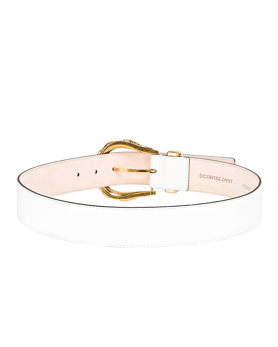 Image 3 of VERSACE Leather Buckle Belt in White & Gold