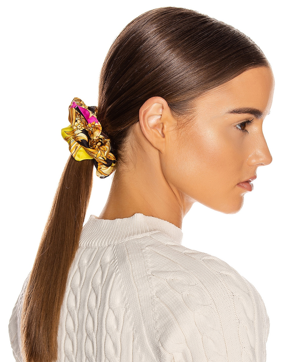 Image 2 of VERSACE Baroque Hair Scrunchie in Fuchsia & Yellow